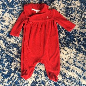 Baby RL Holiday Red Velour Footie - 3 months